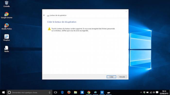 Windows 10 : créer un lecteur de récupération