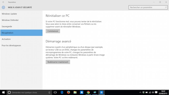 Windows 10 : récupération