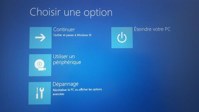 Windows 10 : démarrage avancé