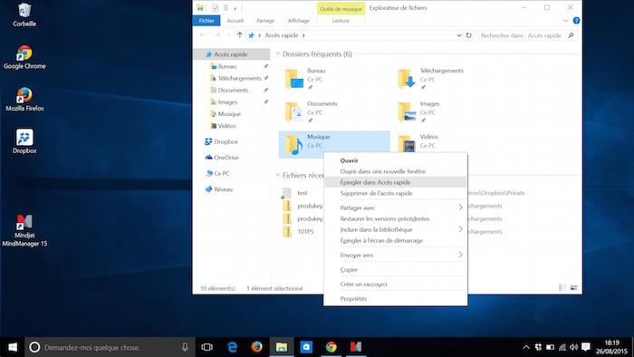 Explorateur de fichiers dans Windows 10 : Accès rapide
