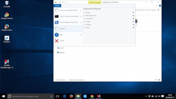 Explorateur de fichiers dans Windows 10 : Menu Fichier
