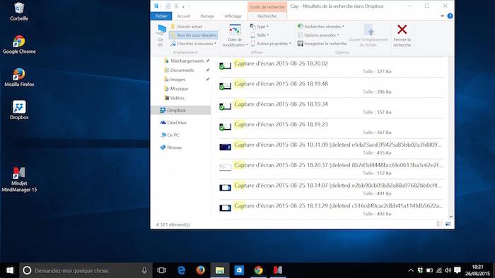 Explorateur de fichiers dans Windows 10 : recherche