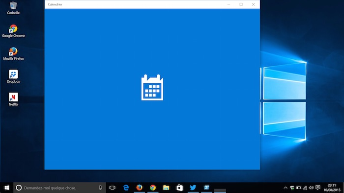 Recherche application Calendrier dans Windows 10