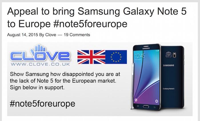 Galaxy Note 5 : une pétition pour le voir en Europe