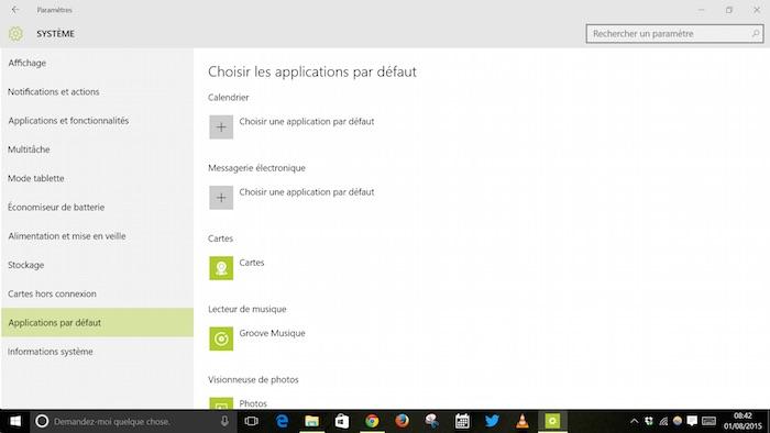 Page des paramètres d'application par défaut