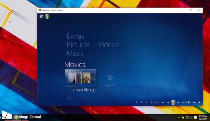 Windows Media Center sur Windows 10