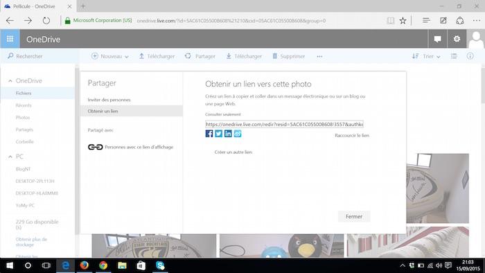 OneDrive sur le Web : affichage des liens
