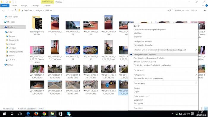 OneDrive sur Windows 10 : partage