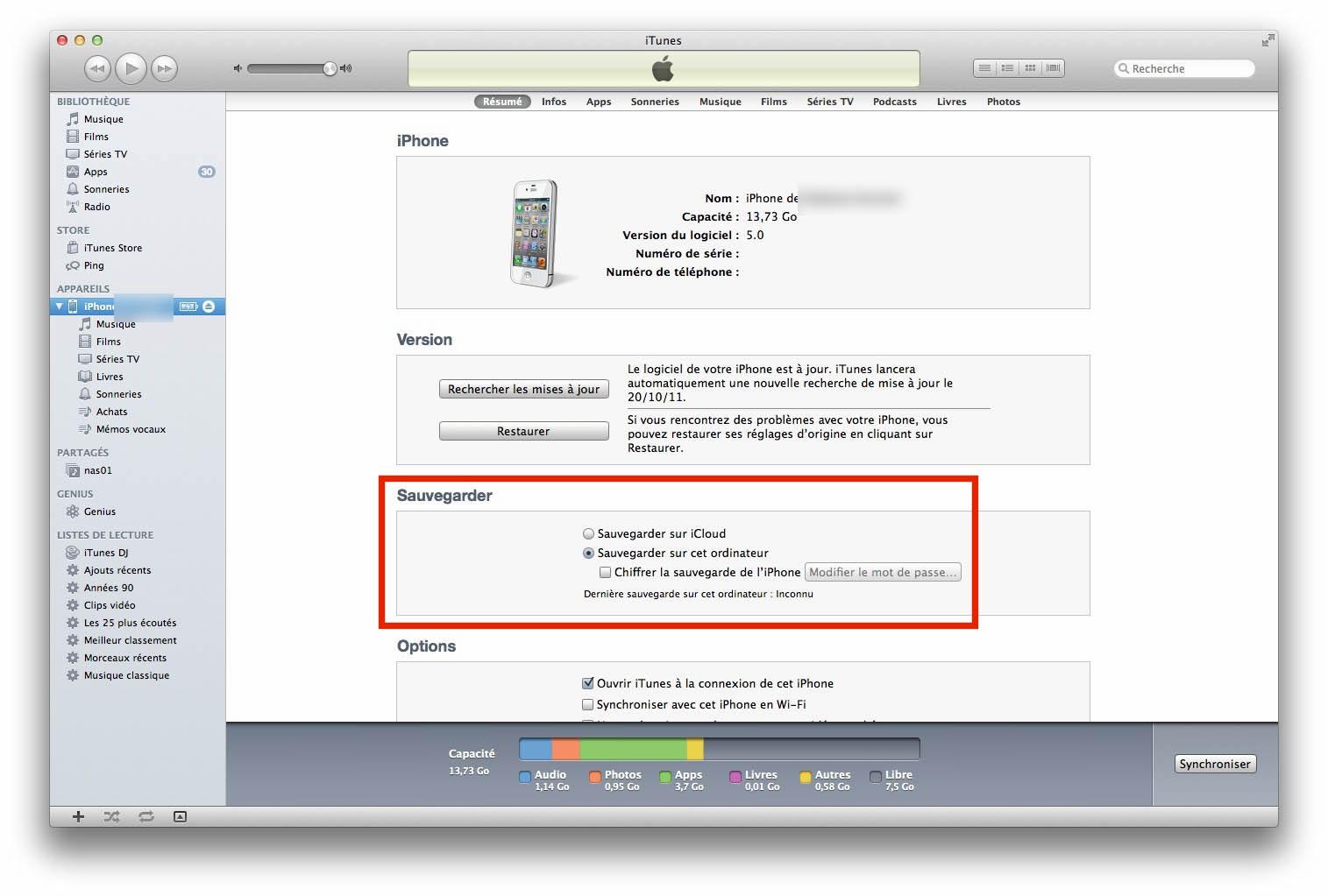 Sauvegarde sur iTunes