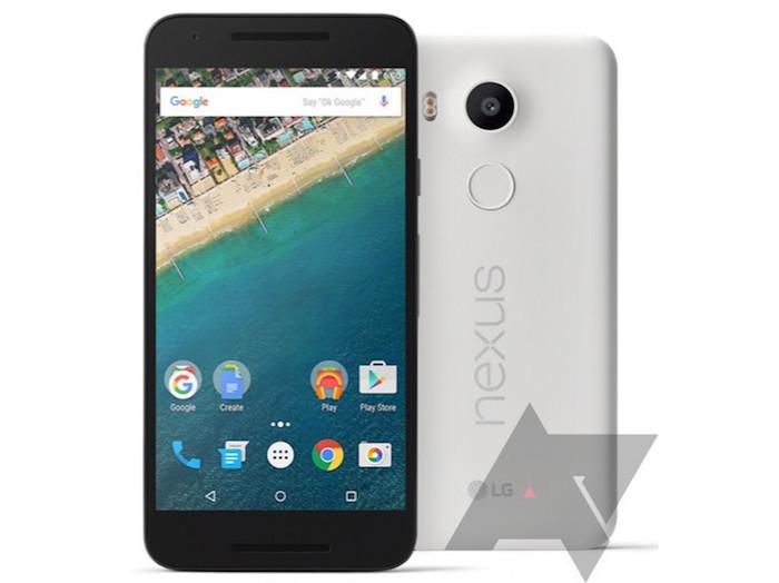Google Nexus 5X : vue de face et de dos