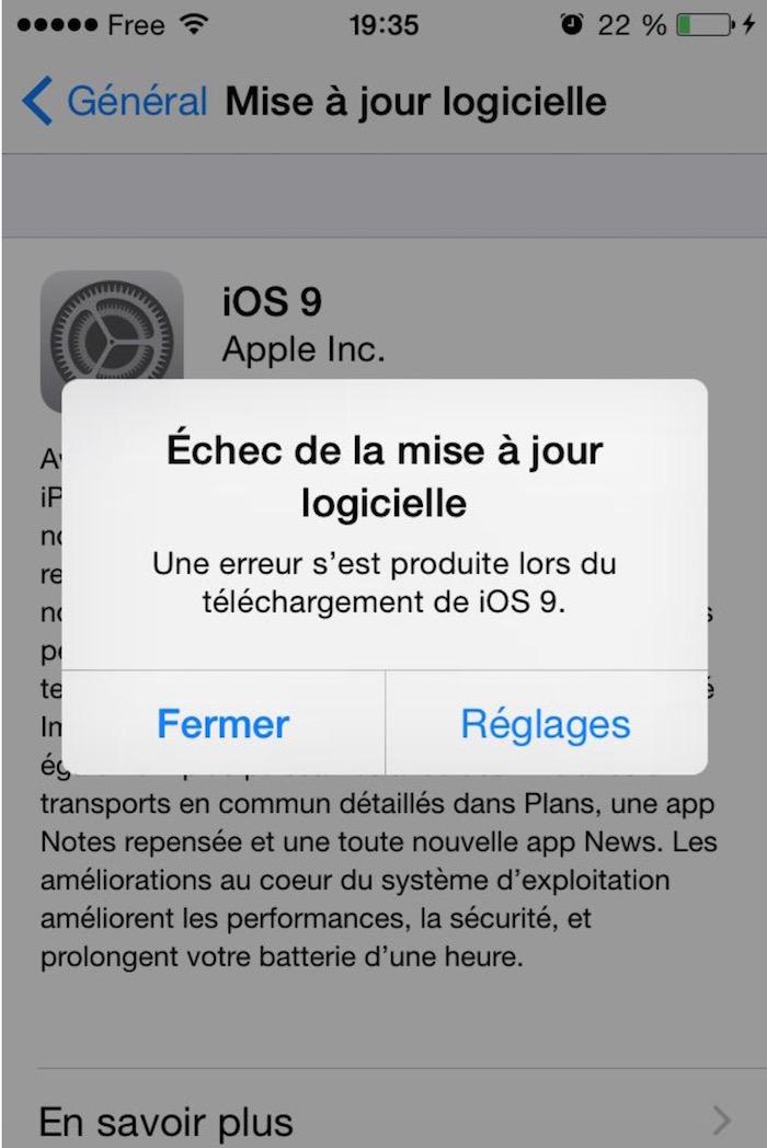 iOS 9 : l'échec de la mise à jour logicielle semble énerver
