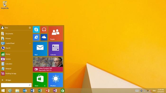 Windows RT va disposer du menu Démarrer de Windows 10