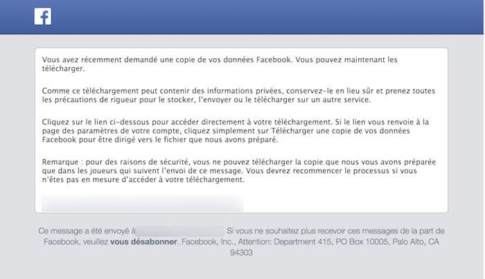 Téléchargez votre sauvegarde Facebook