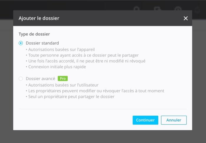 BitTorrent Sync : choix du dossier à synchroniser