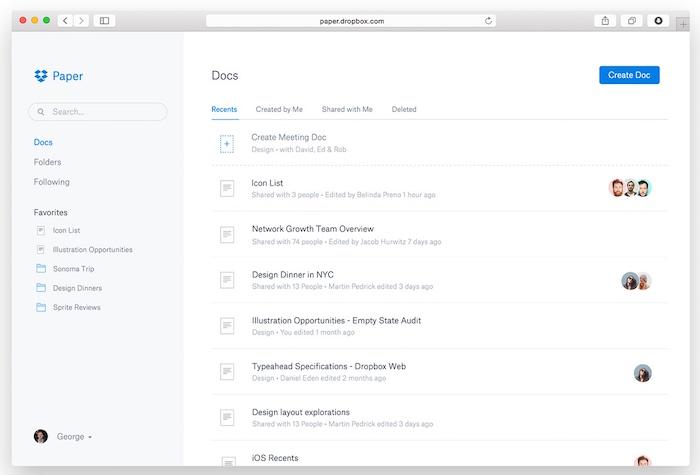 Dropbox Paper : page d'accueil