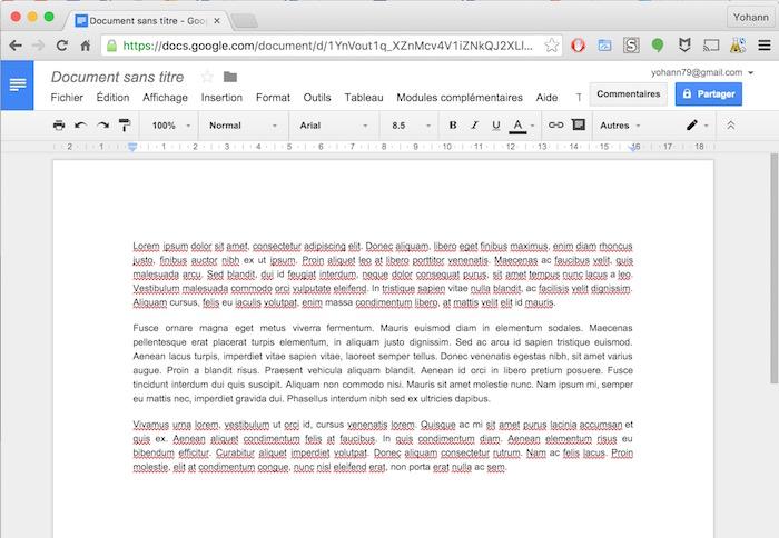 Interface épurée de Google Docs