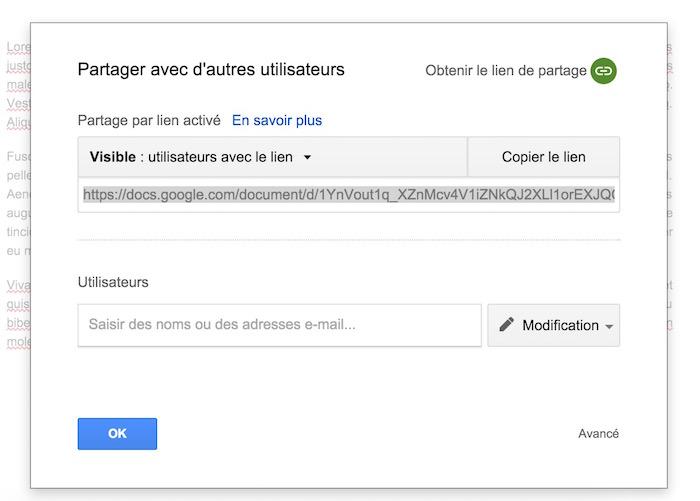 Partage d'un document dans Google Docs