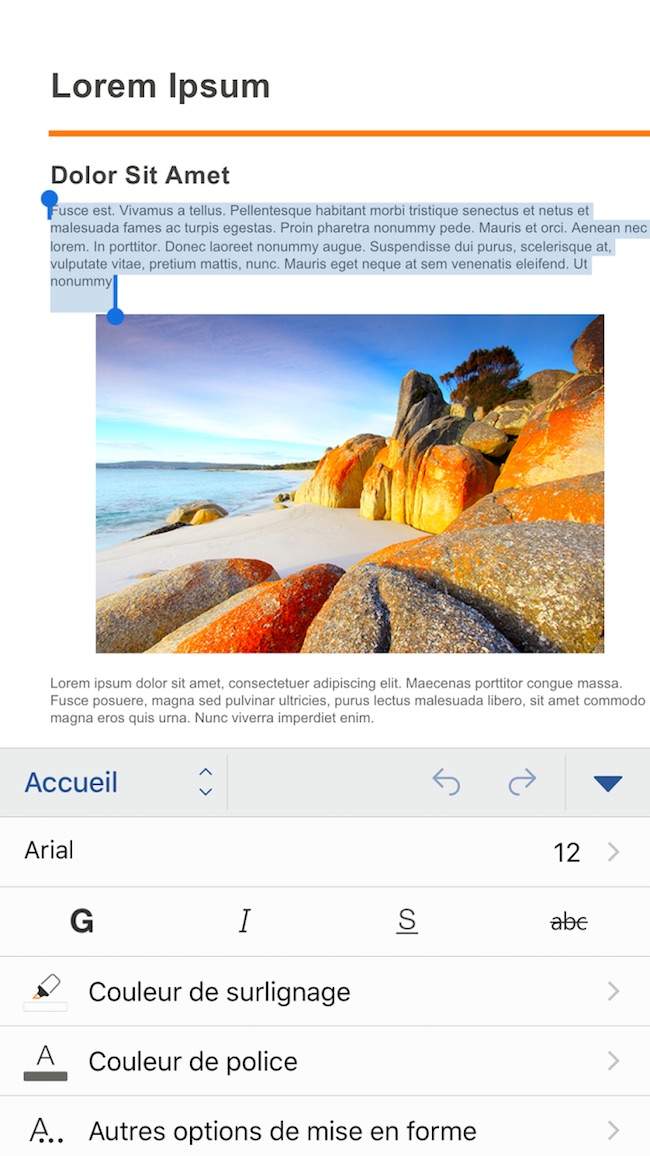 Microsoft Word sur iOS