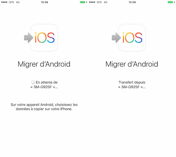 Move to iOS : jumelage entre Android et iOS