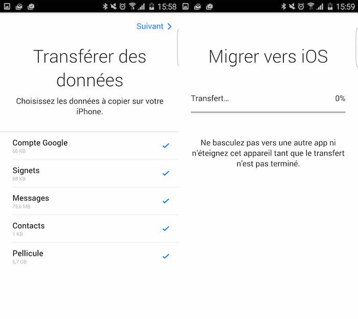 Move to iOS : choix des données à migrer