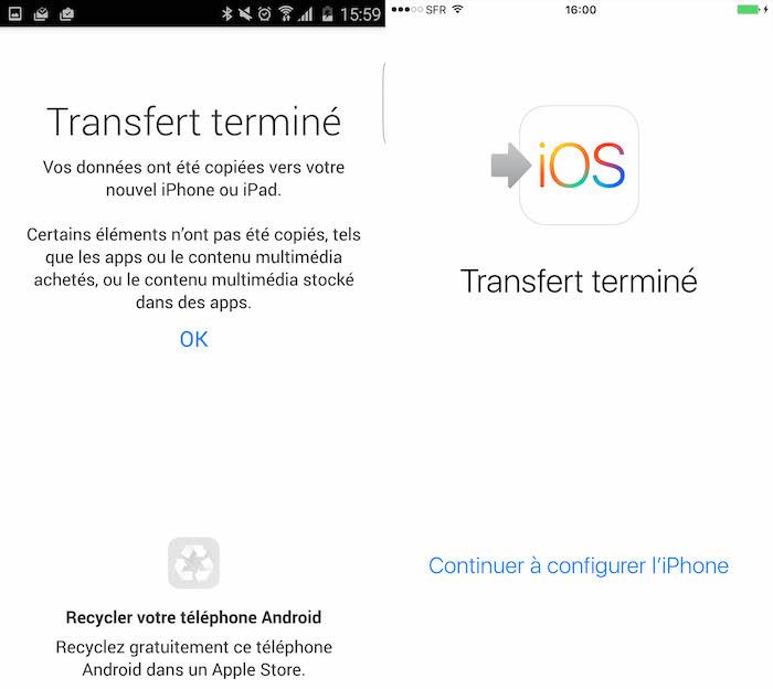 Move to iOS : fin de la migration