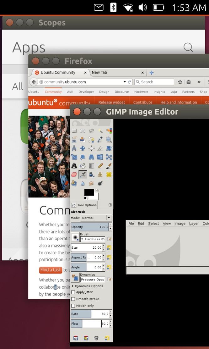 Application de bureau s'exécutant dans une interface utilisateur d'un Ubuntu Phone