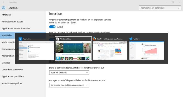 Navigation entre les applications des bureaux virtuels de Windows 10