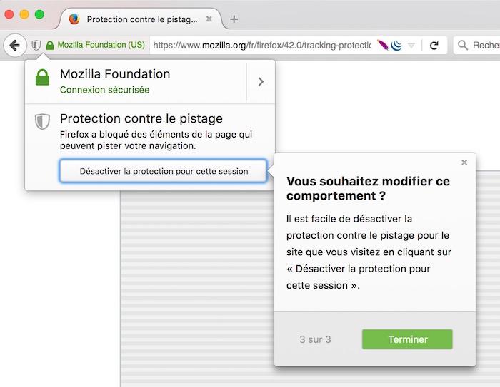 Firefox 42 : bouclier