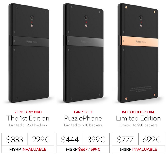 PuzzlePhone : différentes offres Indiegogo