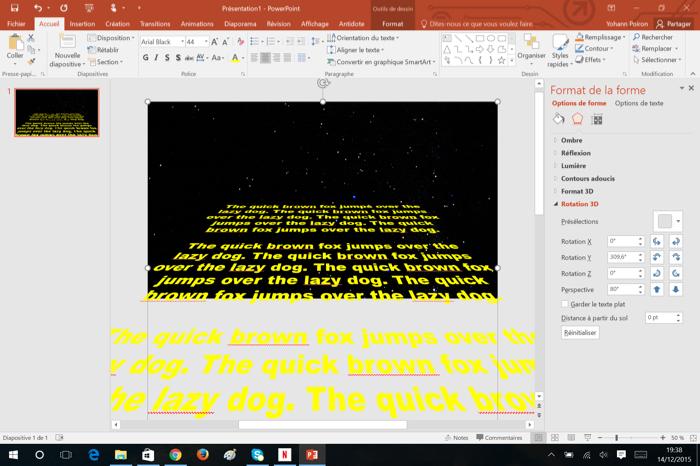Comment faire d filer la star wars gr ce office 2016 - Comment faire une brochure sur open office ...