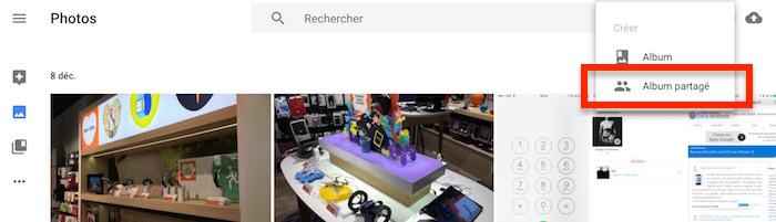 Google Photos albums partagés : ajout