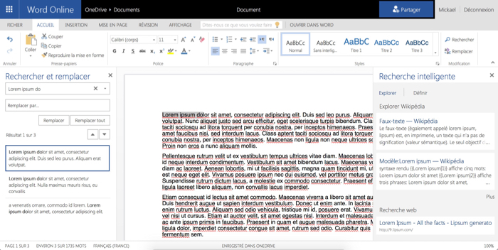 Word Online : Recherche intelligente