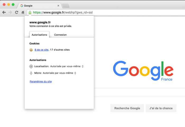 Chrome : affichage des sites cryptés