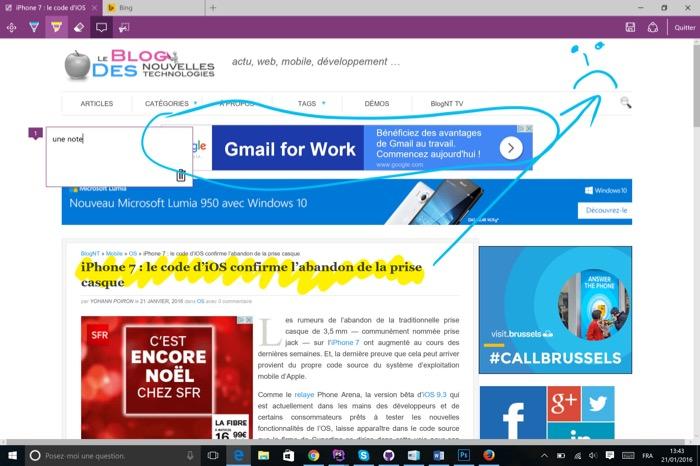 Microsoft Edge : annotation