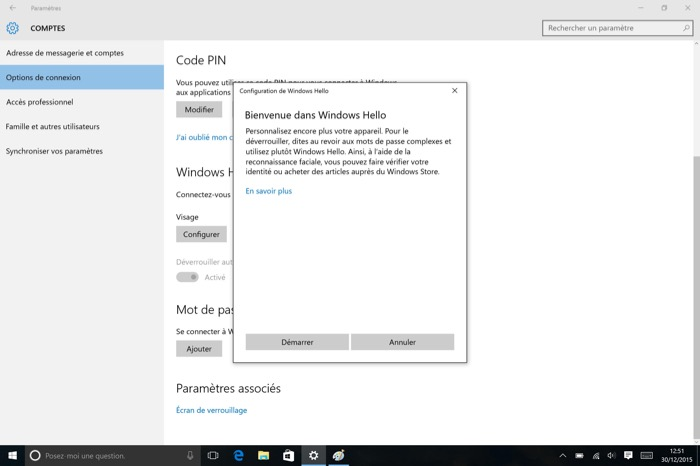Windows Hello sur Windows 10 et la Surface Pro 4