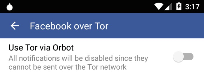 Tor Via Orbot sur Facebook