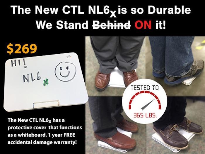 Chromebook CTL NL6X : résistant à une charge de 165 kg