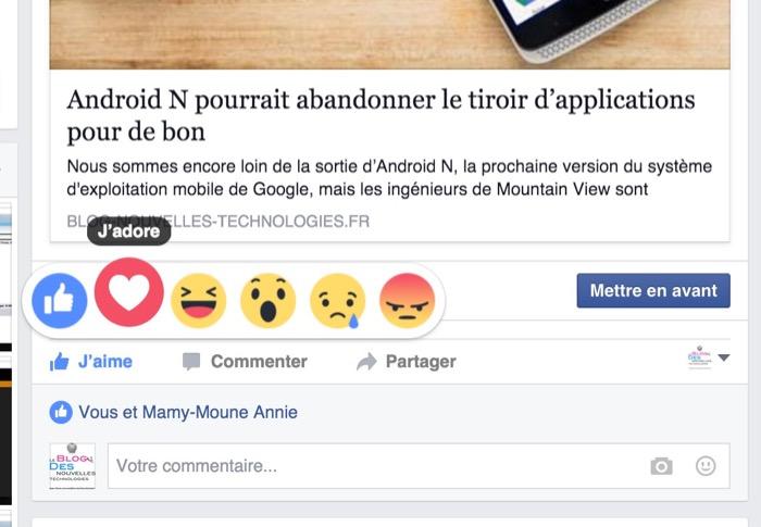 Facebook ajoute ses émoticônes de réaction avec le bouton J'aime