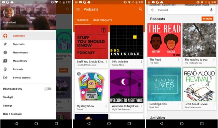 Certains utilisateurs de Google Play Musique voient une option de podcasts