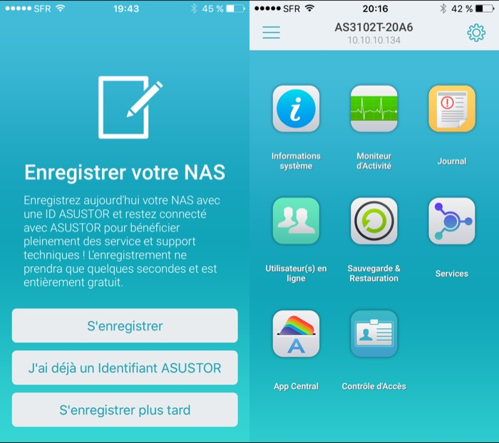 NAS Asustor AS3102T : enregistrement du NAS
