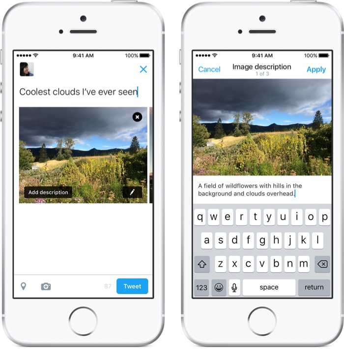 Pour l'accessibilité, ajoutez une description de 420 caractères à vos photos sur Twitter