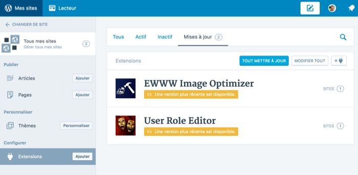 Application de bureau WordPress : mise à jour des extensions sur tous les sites