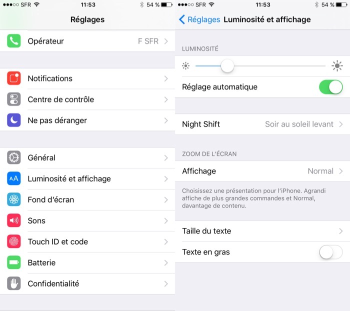 Activer Night Shift sur iOS 9.3