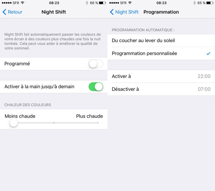 Réglage de Night Shift sur iOS 9.3