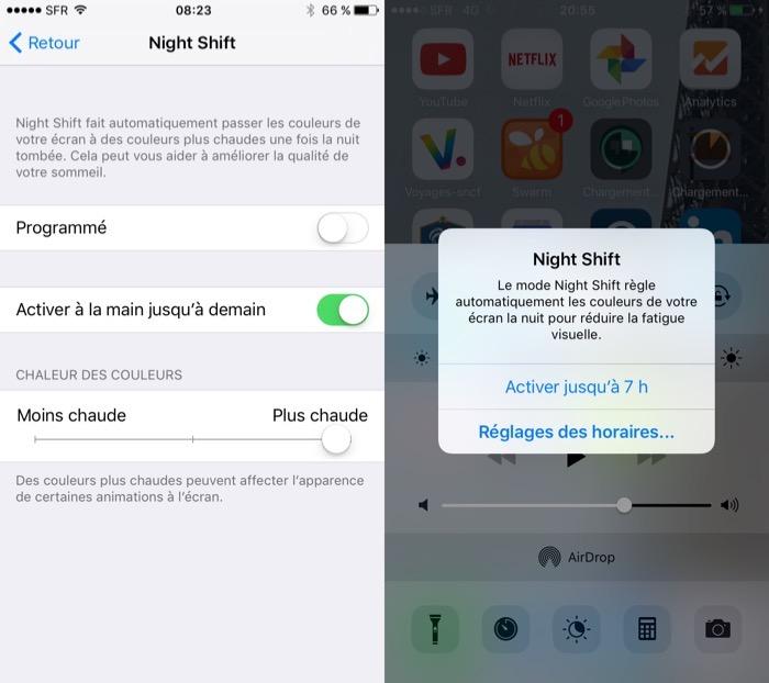 Choix de la chaleur de Night Shift sur iOS 9.3