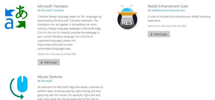 Catalogue des extensions pour Microsoft Edge