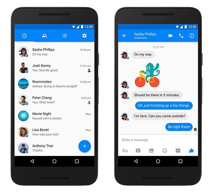 Facebook Messenger passe officiellement à la conception Material Design