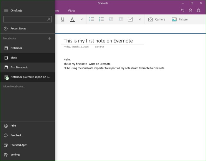 Microsoft OneNote Importer : notes importées