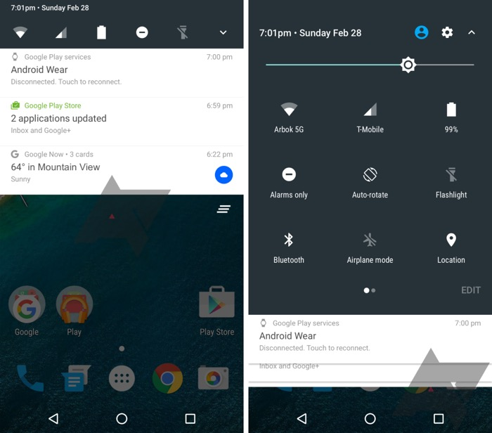 Le premier screenshot d'Android N révèle une nouvelle barre de notifications