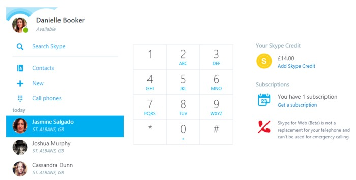 Skype for Web : Appel de téléphones